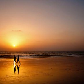 "Title: Walk with Me ""Choosing this frame, allowed me to shoot silhouettes of two friends with a near-perfect reflection on the wet sand. I also enjoyed the serene, open space."" Camera: Nikon D300S ISO: 400 Aperture: f/5.6 Shutterspeed: 1/160sec Photograph/Nipun Srivastava, Pune"