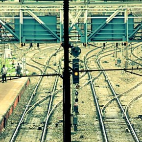 """Title: A Curvy Path """"While waiting on a foot bridge, I spotted the pattern of railway tracks at a suburban Mumbai station. For me, these tracks resemble a Mumbaikar's life, who is lured by curves and shortcuts to fame."""" Camera: Canon EOS 550D ISO: 100 Aperture: f/5.6 Shutterspeed: 1/125sec Photograph/Sunny Tank, Mumbai"""