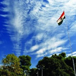 Photographed at the Rajbhavan, Dehradun, the beautiful pattern of cotton-like clouds that framed the proud Indian tricolour, again made of cotton. Photograph/Bhumesh Bharti, Freelance photographer, Dehradun, Uttarakhand