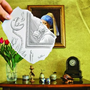 This shows a reproduction of a famous painting from the Belgian artist Vermeer, revisited through my own vision and imagination. Photograph/Ben Heine
