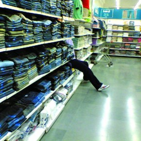 "Title: The Right Foot ""I shot this inside a departmental store at the denims section. I saw this jeans-clad, dummy pair of legs kept in a corner. The funny sight inspired me to click this picture with my cell phone camera!"" Camera: Nokia 6681 (1.3MP mobile phone camera) Aperture: f/3.2 Shutterspeed: 1/50sec Photograph/ Shakhi Nag (Dutta), Bengaluru"