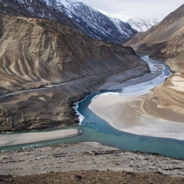 This is an aerial view of the Zanskar river, which was shot at an altitude of 11,000 feet. This panoramic view has effectively captured the captivating, hypnotic beauty of this region. Photograph by/Vivekanand Nagwekar