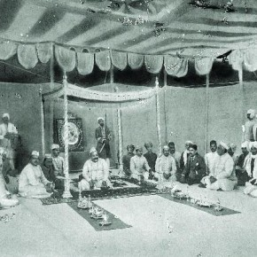 Shown here is the famous singer, Ustad Bade Ghulam Ali Khan, in a baithak or a gathering. Photograph/ Manoranjan Ghosh