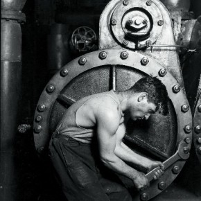 One of his most famous work, this 1920 photograph portrays a labourer working on a steam pump. Photograph/Lewis Hine