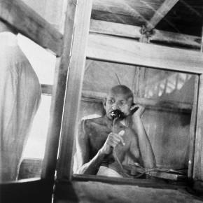 A picture of Gandhiji shot, the image belongs to the series 'Kanu's Gandhi'. Photograph/Kanu Gandhi
