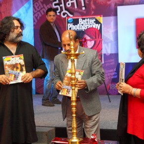 Bandeep Singh, Debatosh Sengupta and Dr Alka Pandey during the lamp lighting ceremony