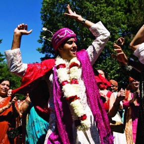 This is the all-familiar baraat—the groom got down to the dance to the music from the dhol and his friends helped him celebrate in style. Photograph/Seshu