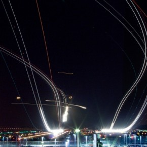 Made out of four exposures that were shot at f/18, this is a head on view of several takeoffs. Photograph/Terence Chang