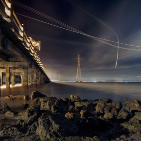 An HDR image and a composite of several exposures made at f/11, this photo shows planes headed for the airport, descending past a bridge. Photograph/Terence Chang