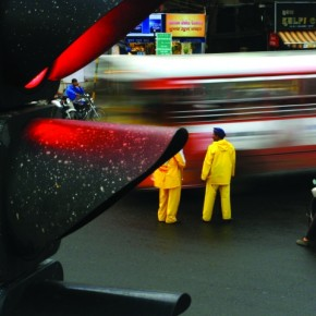 Using the signal as a foreground, I waited for the signal to turn red, and then waited for the bus to pass, so that I could obtain a red blur. An aperture of f8 ensured that the entire image was in focus. Shutter speed was 1/4. Photograph/Raj Lalwani