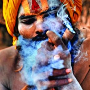"""Smoking Baba: I remember someone asking me when he saw a lot of smoking sadhu pictures, """"Yeh sadhus kya hamesha smoke karte rahte hai?"""" (Do these sadhus smoke all the time?) Photograph/Anirban Brahma"""