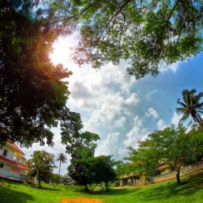 Circular flare and extreme distortion caused by a fisheye lens makes this otherwise plain scene look more interesting. Photograph/Prasanth Chandran