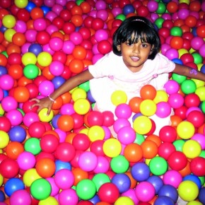 Inflatable castles with sea of colourful balls and balloons are quite popular in kids' birthday parties. They make vibrant and lively pictures too, because of their candybright colours. Photograph/Cynthia Sapna