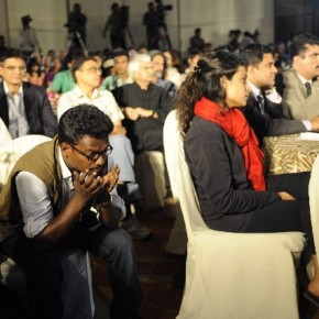 S L Shanthkumar moments before the Photographer of the Year 2011 is announced.