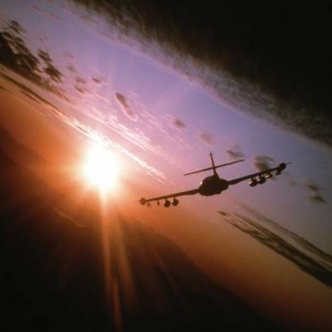 A US Airforce pilot took this image which shows a Dragonfly preparing for a low-level firing mission at dawn. Photograph/Sergeant Bob Simons