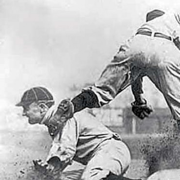 This action-packed photograph of a baseball match is one of the most famous sports photographs of all time. Photograph/Charles Conlon. Image Source: Wikimedia Commons