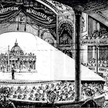 This sketch depicts a Magic Lantern show from the 1890s, where a projector was used to entertain an audience.. Source: www.thequietus.com