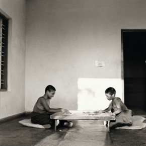 Two monks playing carrom on a Monday. Photograph/Nicholas Vreeland/ Tasveer Arts