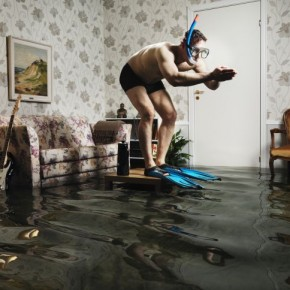 This image is a part of a series, for which Henrik took 40 days to construct an indoor pool, complete with a living room set. Photograph/Henrik Sorensen