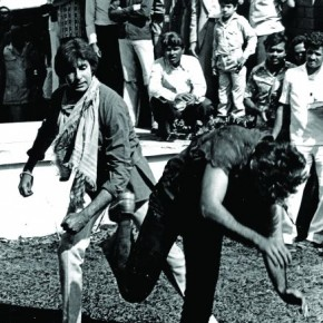 Amitabh Bachchan practises a fight scene on the sets of Coolie (1983). This was taken minutes before the actor's infamous lifethreatening accident. Photograph/Mukesh Parpiani