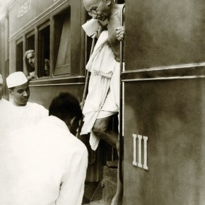Mahatma Gandhi on a campaign tour. He always travelled in the third class compartment. Photograph/Kulwant Roy