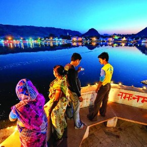For this image shot in Pushkar, Rajasthan, a unique vantage point was chosen so that it would go beyond the obvious and cliché images shot at Pushkar every year. Photograph/Poras Chaudhary