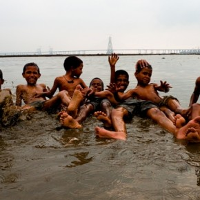 I found these kids cooling off at the spot where the Mithi river opens into Mahim bay. The collective filth of half of Mumbai flows through this place, but that did not deter their enthusiasm on that very hot day. Photograph/Gopal MS