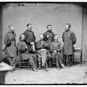 General U S T Sherman and other generals, 1860-65. Photograph/Mathew B Brady