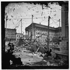 US Treasury before completion. Washington D C, 1860. Photograph/Mathew B Brady