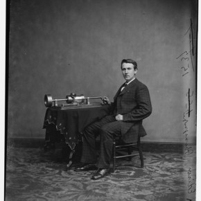 Thomas Edison with the second model of  the phonograph, 1878. Photograph/Mathew B Brady