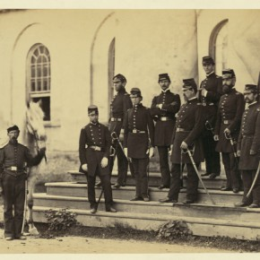General Irvin McDowell and officers at Arlington House, 1862 . Photograph/Mathew B Brady