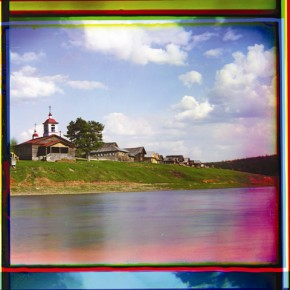A chapel sits on the site where the city of Belozersk was founded in ancient times, 1909. Photograph/S M Prokudin-Gorsky