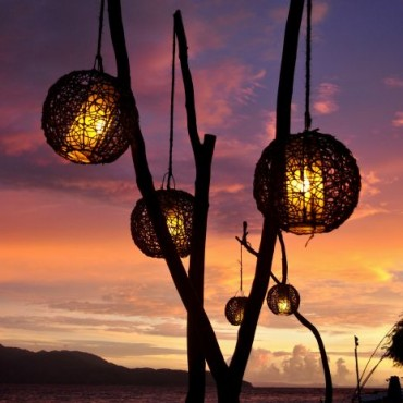"""The clear waters, white sands and picturesque sunsets of Gili Trawangan Islands in Indonesia make great backdrops. Here, beautiful lampposts were lit up just after sunset. They compliment the backdrop of the vivid skyline, the mountains and clouds."" Photograph/Raghav Malhotra"