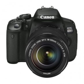 From the front, the camera looks very similar to EOS600D. On the right there is the flash release button, the lens release button, and the depth-of-field preview button. On the handgrip is the IR sensor that will sense the signal from remote control.