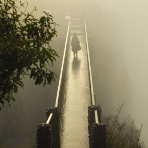 """Victoria Falls, Zambia: Of this photo, Steve says """"I love the mystery of the figure walking through the spray"""".. Photograph/Steve Davey."""