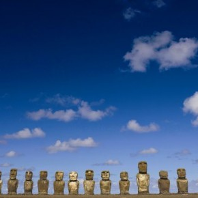 Ahu Tongariki, Rapa Nui (Easter Island) Chile: This photograph was composed to accentuate the feeling of isolation, and to show-off the striking sky. This Moai group reminded Steve of the British Rugby team lining up for the national anthem. Photograph/Steve Davey
