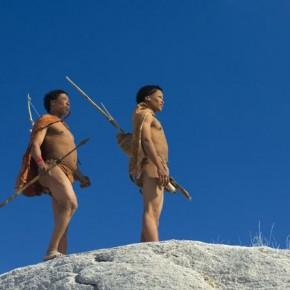 Bushmen Trackers, Kubu Island, Botswana: Shooting from a low angle has placed the bushmen against a clear blue sky. Photograph/Steve Davey
