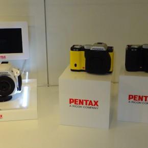 Pentax cameras on display.