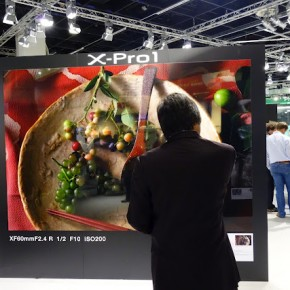 A visitor admires an image displayed at the Fujifilm stall.