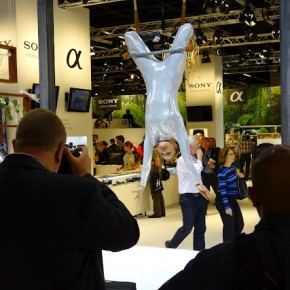 Visitors enjoy a gymnastic performance at the Sony stall.