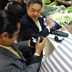 Better Photography's Editor, K Madhavan Pillai tests a camera at the fair.