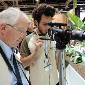 Visitors test the quality of camera themselves.