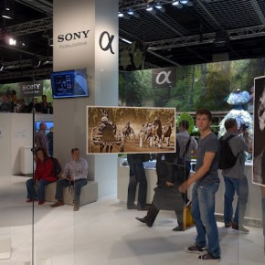 Photo exhibits at Sony booth.