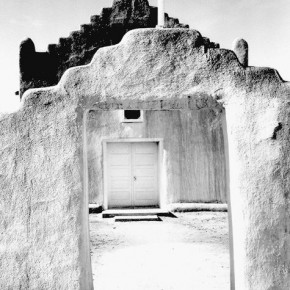 Church, Taos Pueblo, New Mexico, 1942, full front view of entrance. Photograph/Ansel Adams