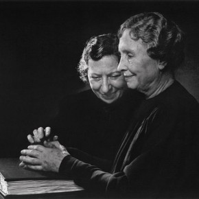 "American writer Helen Keller (right) with Polly Thompson in 1948. Karsh recalled of his time with her, ""I kissed her on the forehead and she blushed like a child."" Then, she put her hands on his face and said ""I am photographing you with my touch"". Photograph/Yousuf Karsh"