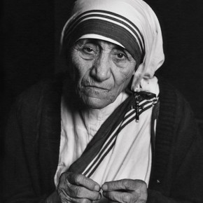 Mother Teresa in Ottawa, 1988. This was her stop during a fundraising tour. When Karsh approached her, she initially demurred, and then graciously agreed if it would help her order. Photograph/Yousuf Karsh