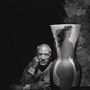 "Pablo Picasso at his villa in 1954. Picasso surprised everyone by being prompt for his photographic appointment. Karsh said, ""He could partially view himself in my large format camera lens and intuitively moved to complete the composition"". Photograph/Yousuf Karsh"
