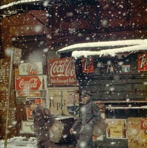 Just another ordinary day and two men walking in the snow... Saul's images make the mundane seem beautiful. Photograph/Saul Leiter