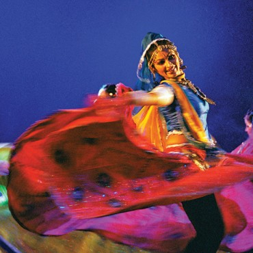 Sanwariya, a danseuse performs a swirling movement during her performance. Photograph/Shobha Deepak Singh