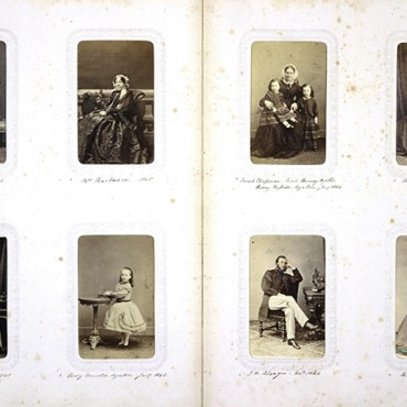 This is an example of a carte de visite family album created between 1864–65.